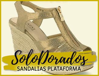 sandalias con plataforma dorada